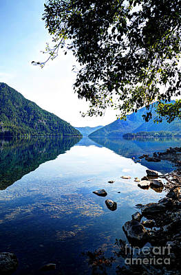 Photograph - Reflection On Lake Crescent Vertical by Sarah Schroder