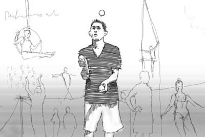 Juggling Drawing - Rehearsal by H James Hoff