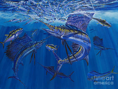 Cobia Painting - Rendezvous  by Carey Chen