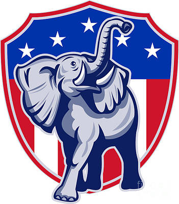 Republican Digital Art - Republican Elephant Mascot Usa Flag by Aloysius Patrimonio