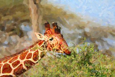 Animals Digital Art - Reticulated Giraffe Kenya by Liz Leyden