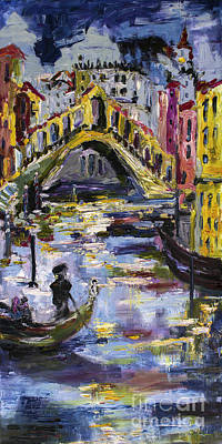 Venice Italy Ginette Painting - Rialto Bridge Venice Italy by Ginette Callaway