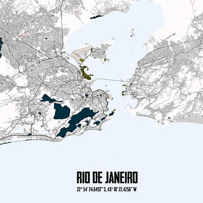 Map Digital Art - Rio De Janeiro Piet Mondrian Style City Street Map Art by Celestial Images