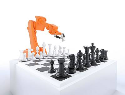Board Game Photograph - Robotic Arm Playing Chess by Andrzej Wojcicki
