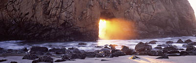 Lights In Tunnel Photograph - Rock Formation On The Beach, Pfeiffer by Panoramic Images