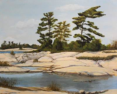 Rock Ponds. Lost Bay. Beausoleil Art Print by Humphrey Carter