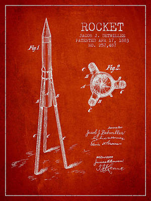 Spaceflight Digital Art - Rocket Patent Drawing From 1883 by Aged Pixel