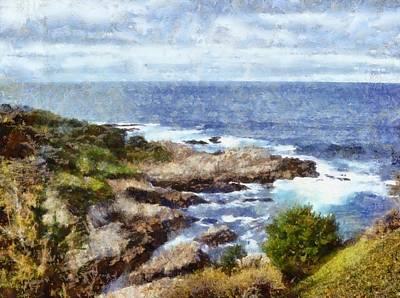Rocky Coast Digital Art - Rocky Cove Detail by Barbara Snyder