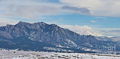 Photograph - Rocky Mountains Flatirons And Longs Peak Panorama Boulder by James BO Insogna