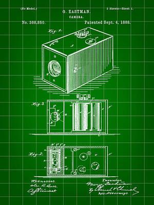 Cartridge Digital Art - Roll Film Camera Patent 1888 - Green by Stephen Younts