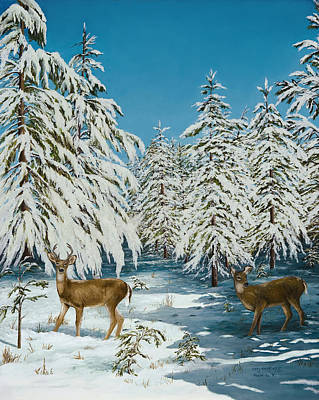 Arkansas Painting - Romance Snow Scene by Mary Ann King