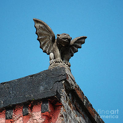Fiend Digital Art - Rooftop Chained Gargoyle Statue Above French Quarter New Orleans Poster Edges Digital Art by Shawn O'Brien