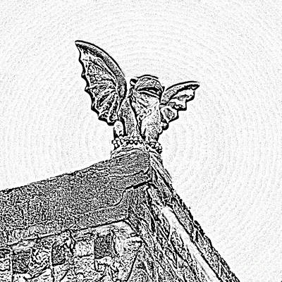 Fiend Digital Art - Rooftop Gargoyle Statue Above French Quarter New Orleans Black And White Photocopy Digital Art by Shawn O'Brien