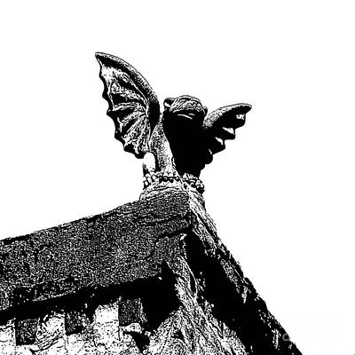 Photograph - Rooftop Gargoyle Statue Above French Quarter New Orleans Black And White Stamp Digital Art by Shawn O'Brien