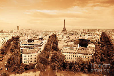 Paris Skyline Royalty-Free and Rights-Managed Images - Rooftop view on the Eiffel Tower Paris France by Michal Bednarek