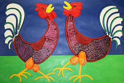 2 Roosters Art Print by Matthew Brzostoski