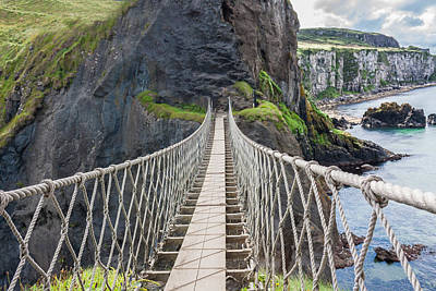 Photograph - Rope Bridge At Carrick-a-rede In Northern Island by Semmick Photo