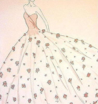 Drawing - Rose Ball Gown   by Christine Corretti
