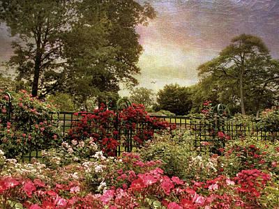 Red Rose Digital Art - Rose Garden Trellis by Jessica Jenney