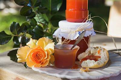 Bread Making Photograph - Rose Hip Jam In Jars And On Bread Roll by Foodcollection