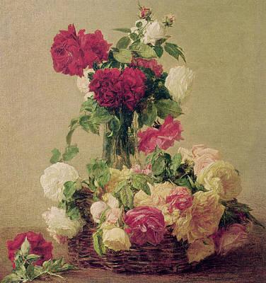 Wicker Painting - Roses by Ignace Henri Jean Fantin-Latour