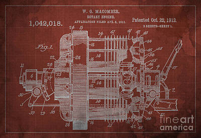 1900 Blueprint Digital Art - Rotary Engine Patented On 1912 by Pablo Franchi