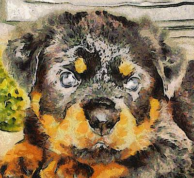 Painting - Rottweiler Puppy Portrait by Tracey Harrington-Simpson