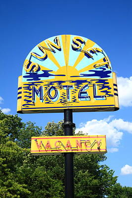 Photograph - Route 66 - Sunset Motel by Frank Romeo