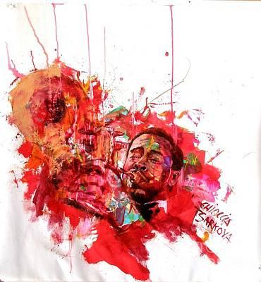 Trumpet Painting - Roy Hargrove by Massimo Chioccia and Olga Tsarkova