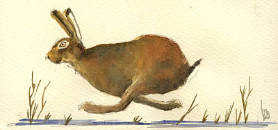 Running Hare Art Print by Juan  Bosco