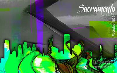 Sacramento Skyline Watercolor Print by Marvin Blaine