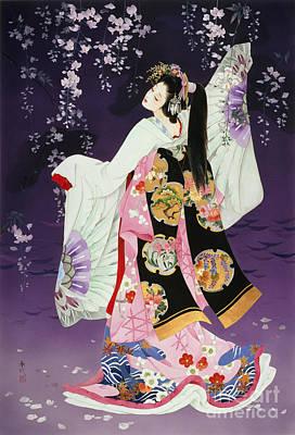Purple Robe Painting - Sagi No Mai by Haruyo Morita