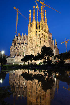 Photograph - Sagrada Familia In Barcelona At Night by Artur Bogacki