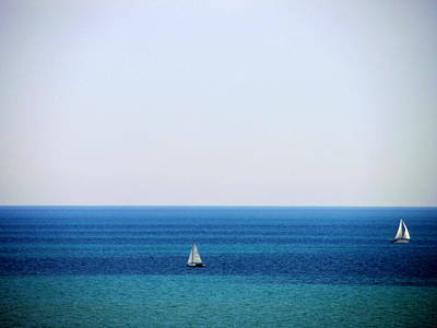 Photograph - 2 Sailboats In The Distance by Anita Burgermeister