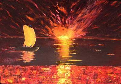 Firey Sunset Painting - Sailing Into The Sunset by Henry Parker
