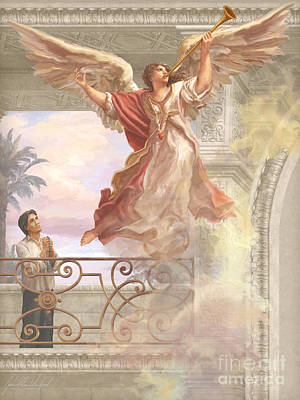 Trumpet Painting - Saint Lorenzo Ruiz And Angel by John Alan  Warford