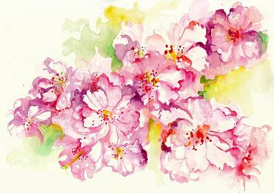 Malerei Painting - Sakura - Cherry Tree Blossom Watercolor by Tiberiu Soos