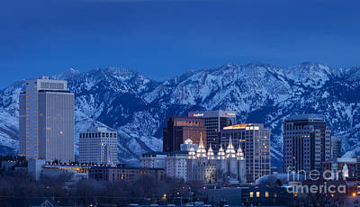 Snowy Night Photograph - Salt Lake City by Brian Jannsen