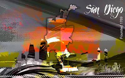 San Diego California Map And Skyline Art Print by Marvin Blaine