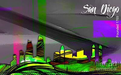 City Map Mixed Media - San Diego California Skyline Watercolor by Marvin Blaine