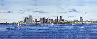 Aircraft Carrier Painting - San Diego Skyline by John YATO