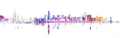 Wrigley Field Digital Art - Chicago Skyline by Doc Braham