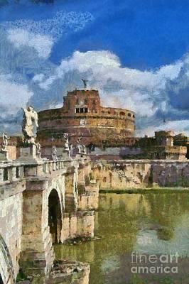 Bridge Painting - Sant Angelo Castle In Rome by George Atsametakis