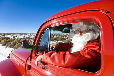 Christmas Holiday Scenery Photograph - Santa Driving A Vintage Red Ford by Michael DeYoung