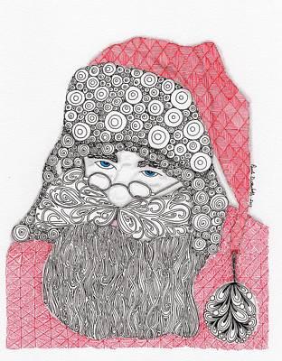 Zentangles Drawing - Santangle by Paula Dickerhoff