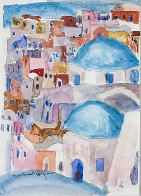 Santorini Splendor Art Print by Michael Helfen