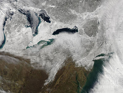 Satellite View Of A Large Noreaster Print by Stocktrek Images