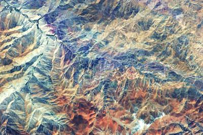 Satellite View Of Mountain Range Art Print