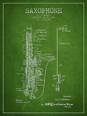 Saxes Digital Art - Saxophone Patent Drawing From 1928 by Aged Pixel