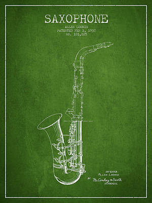 Saxes Digital Art - Saxophone Patent Drawing From 1937 - Green by Aged Pixel